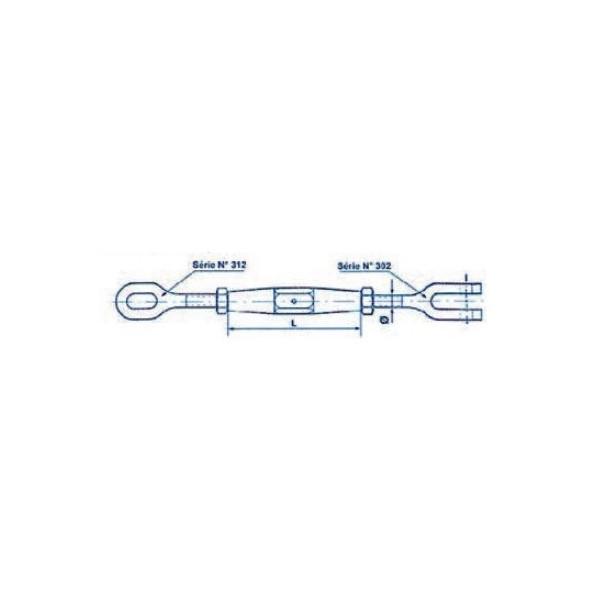 Ridoir à oeil et chape axe a tête plate et contre écrous diamètre 18 SN° 70-3